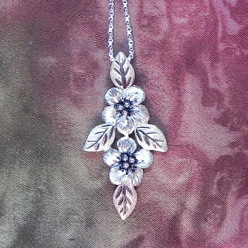 Forget Me Not Double Flower & Black Hills Gold Pendant