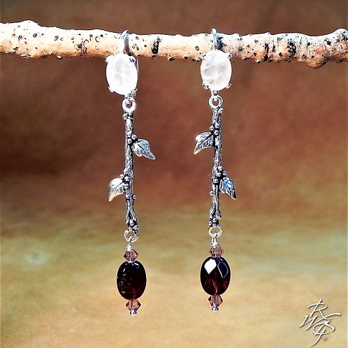 Rose Quartz & Garnet Beaded Lever Back Earrings