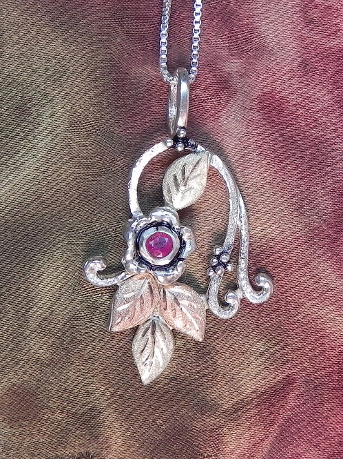 Forget Me Not With Ruby  & Twines & Leaves Pendant