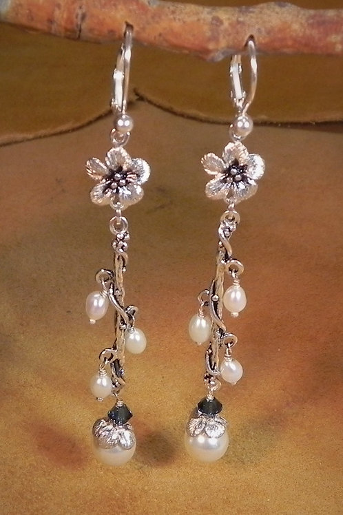 Forget-Me-Not Flower & Pearl Long Dangle Lever Back Earring