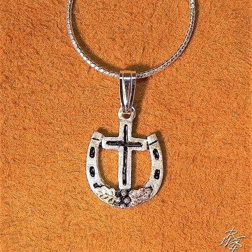 Horseshoe & Cross Western Pendant