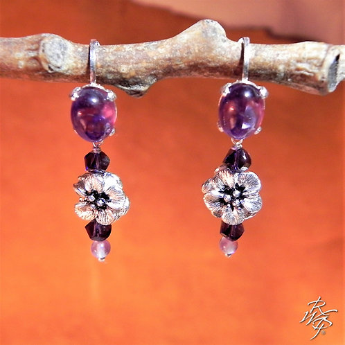 Forget Me Not & Amethyst Lever Back Earrings