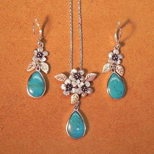 Forget Me Not Flower & Turquoise Earring & Pendant