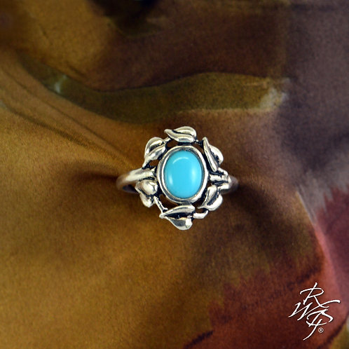 Leaf Wreath & Turquoise Ladies Ring