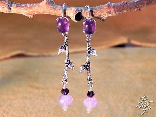 Amethyst & Branch Beaded Lever Back Earrings