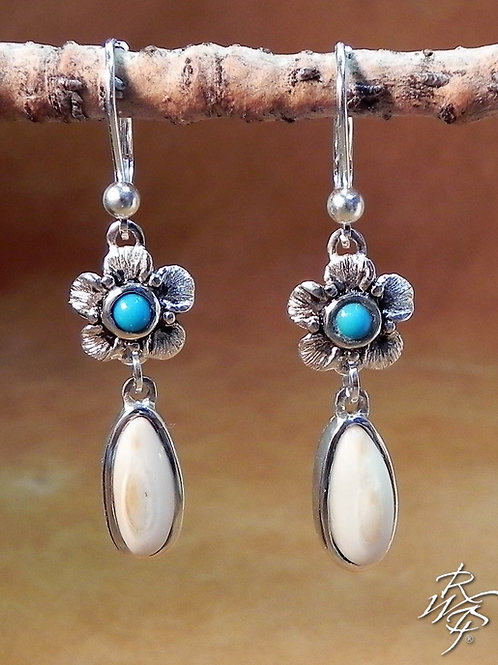 Elk Ivory & Turquoise  Earrings