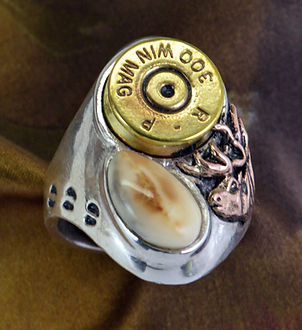 Elk Ivory Jewelry Trophy Rings Spent Cartridge