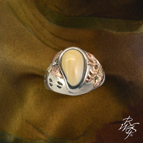 Elk Ivory Trophy Ring & Rose Gold Elk Bust & Gold Leaves