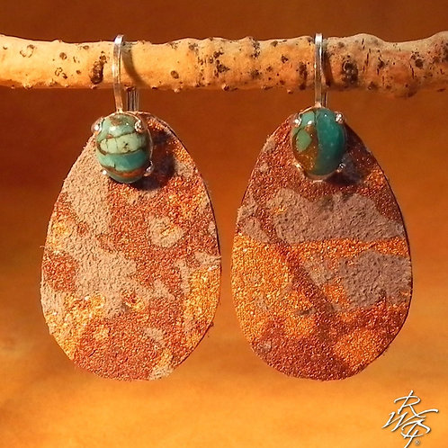 Turquoise & Leather Lever Back Earrings