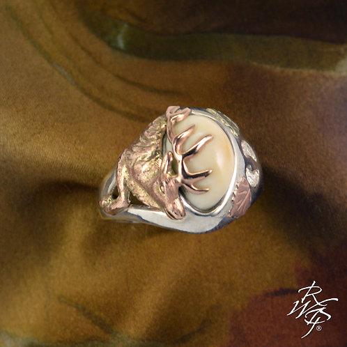 Elk Ivory Trophy Ring  Rose Gold Elk Bust With Leg & Gold Leaves