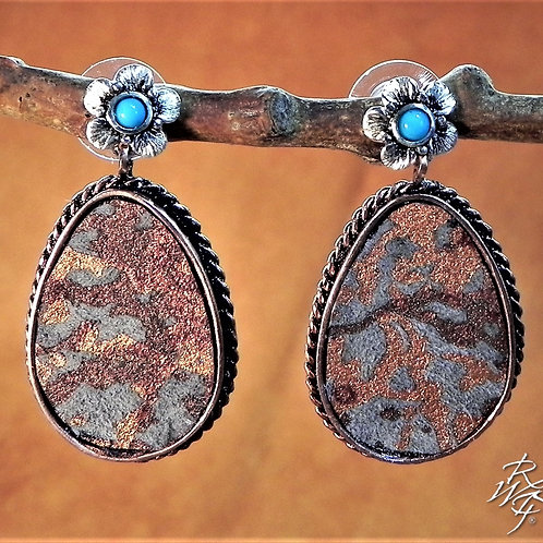 Earth Colored Printed Leather Creation Earrings