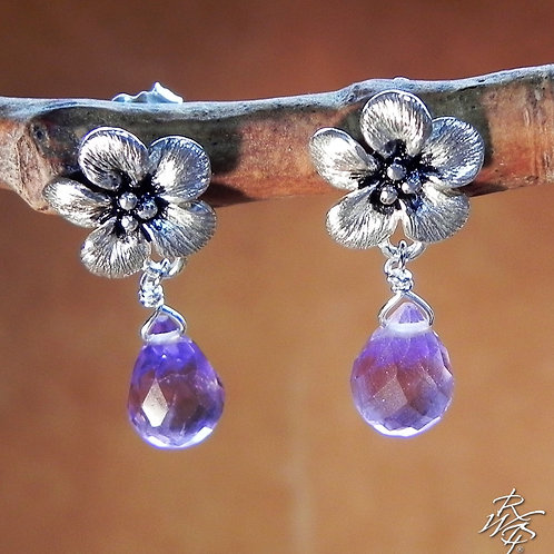 Forget Me Not & Amethyst Post Dangle Earrings