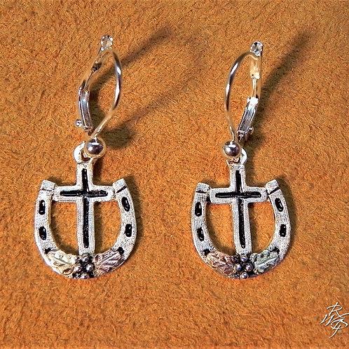 Horseshoe & Cross Western Earrings