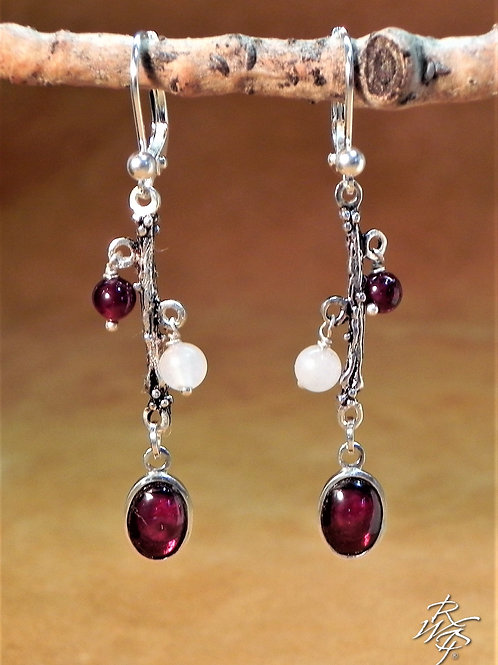 Garnet Oval Drop & Beaded Earrings