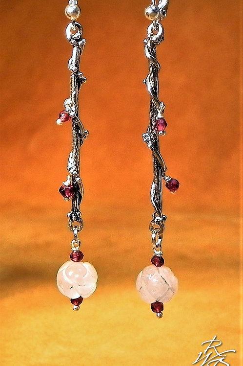 Rose Quartz & Garnet Twine Earrings
