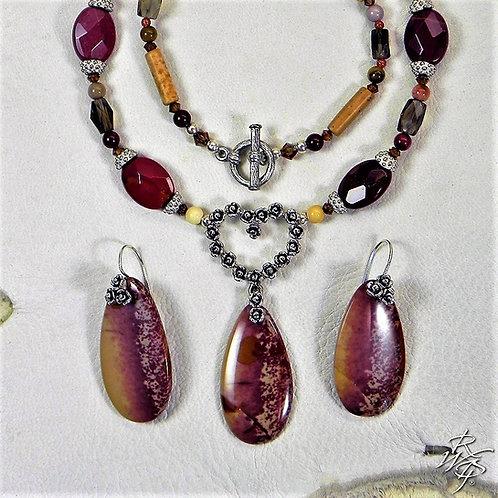 Tiny Rose & Flower Jasper Earring & Necklace Set