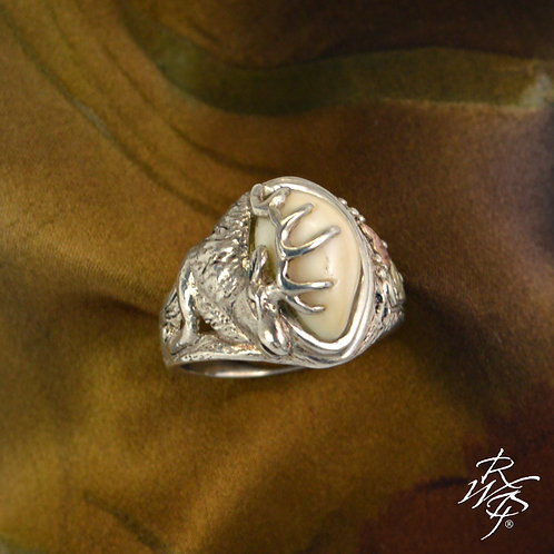 Elk Ivory Trophy Ring & Black Hills Gold Leaves