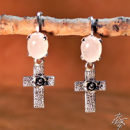 Rose Quartz & Cross Earring