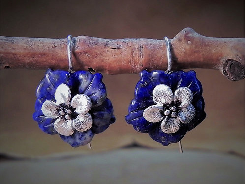 Forget-Me-Not Flower & Carved Lapis Handmade Hook Earrings
