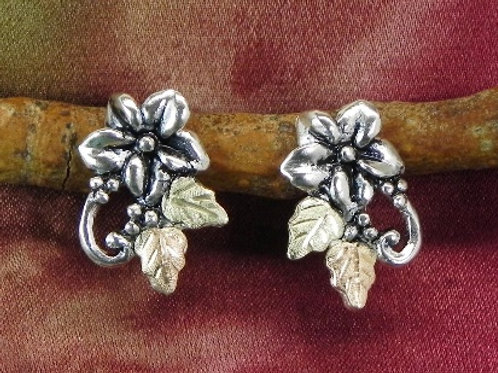 Wild Berry Flower & Black Hills Gold Post Earrings