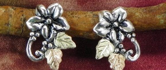 Wild Berry Flower & Black Hills Gold Post Earrings
