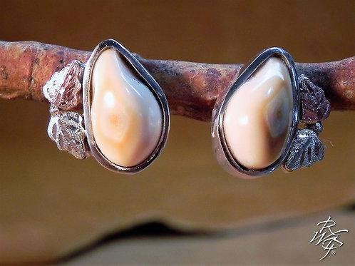 Elk Ivory & BHG Leaves Post Earrings - Roger Wagoner Designs