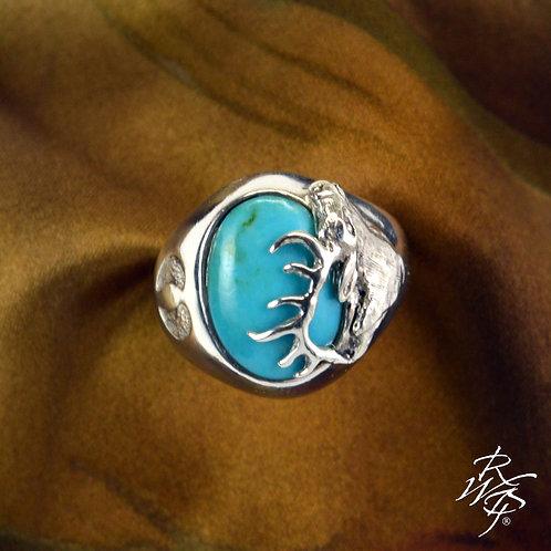 Elk Bust Sculpture & Turquoise Ring