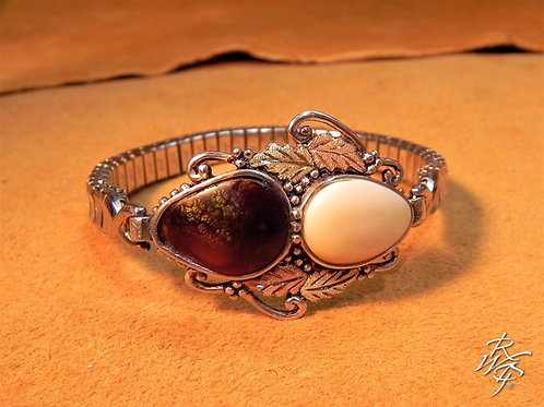 Elk Ivory & Fire Opal & Black Hills Gold  Stretch  Bracelet