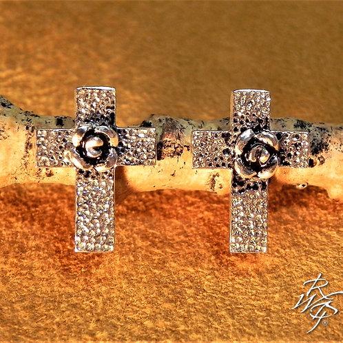 Cross & Tiny Rose Post Earrings
