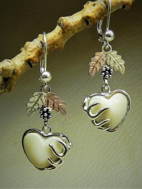 Heart Shape Carved Elk Ivory with Rack & Black Hills Gold Lever Back
