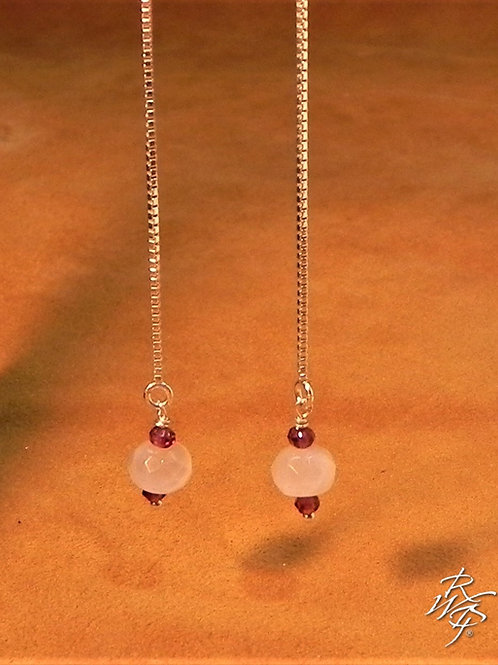 Rose Quartz & Garnet Threader Earrings