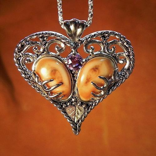 Elk Ivories & Amethyst Heart Necklace