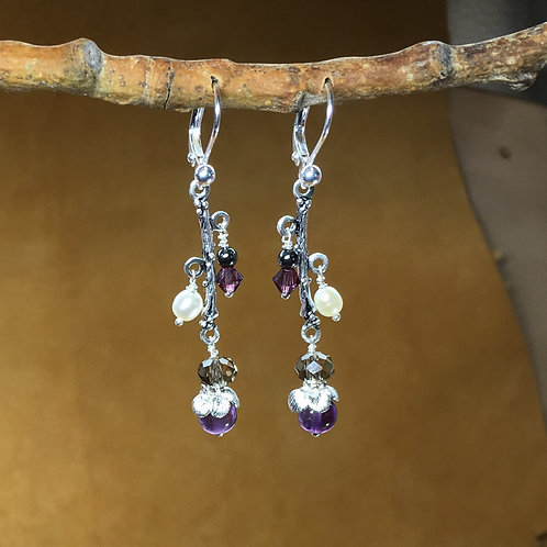 Amethyst & Pearl Lever Back Dangle Earrings