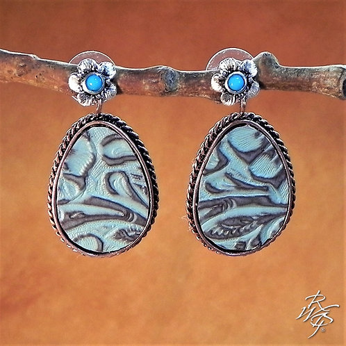 Turquoise Colored Printed Leather Creation Earrings