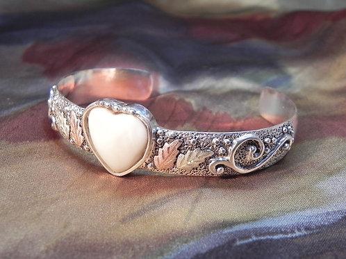 Heart Shaped Carved Elk Ivory & Black Hills Gold Cuff Bracelet