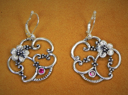 Forget Me Not Scroll & Garnet Colored CZ Lever Back Earrings