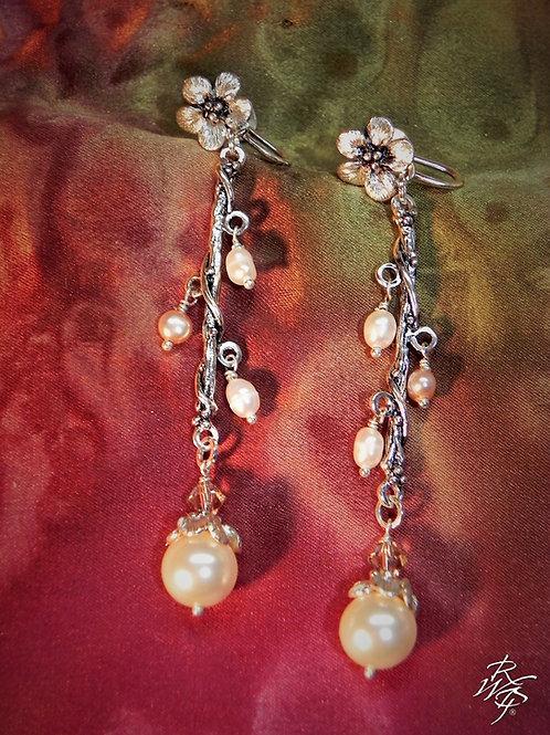 Forget Me Not & Pearls Screw Back Earrings