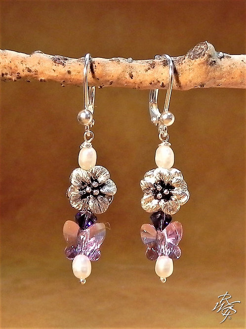 Pearl & Crystal & Forget me Not Beaded Earrings
