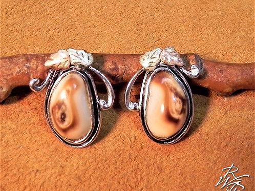 Elk Ivory & BHG Leaves Post Earrings