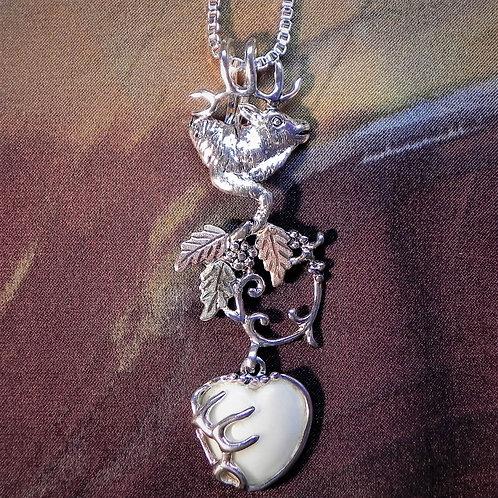 Elk Bust Bale & BHG Branch & Heart Shaped Carved Elk Ivory with Rack Pendant