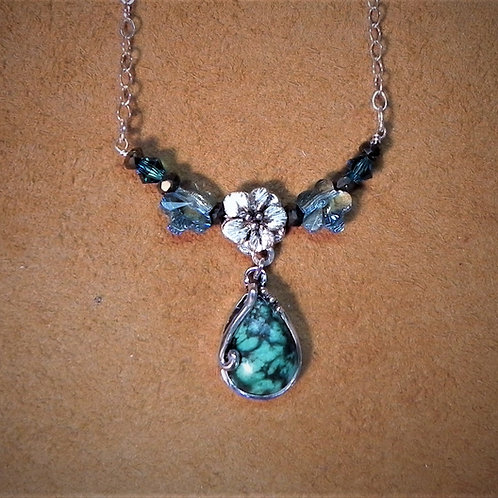 Forget Me Not & Turquoise Necklace