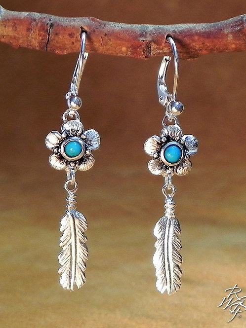 Turquoise & Feather Western Earrings