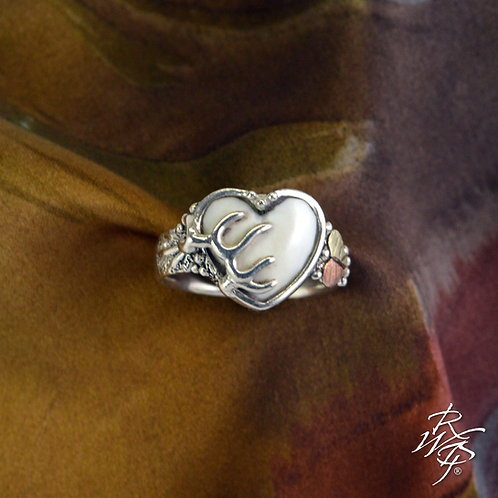 Heart Shape Carved Elk Ivory Ring