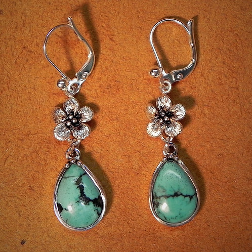Forget Me Not & Turquoise Lever Back Earrings