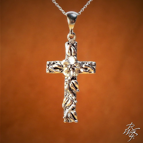 Forget Me Not & Leaves Cross Pendant