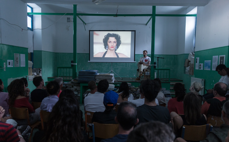 Phenomenon, Christodoulos Panayiotou, Dying on stage, performance/lecture, Phenomenon 2, Friday, July 7, 2017, Anafi. Photo credit: Alexandra Masmanidi