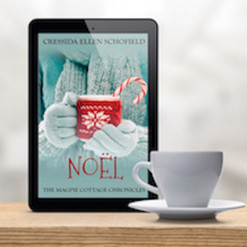 Noel Tablet & Coffee Upright Background.