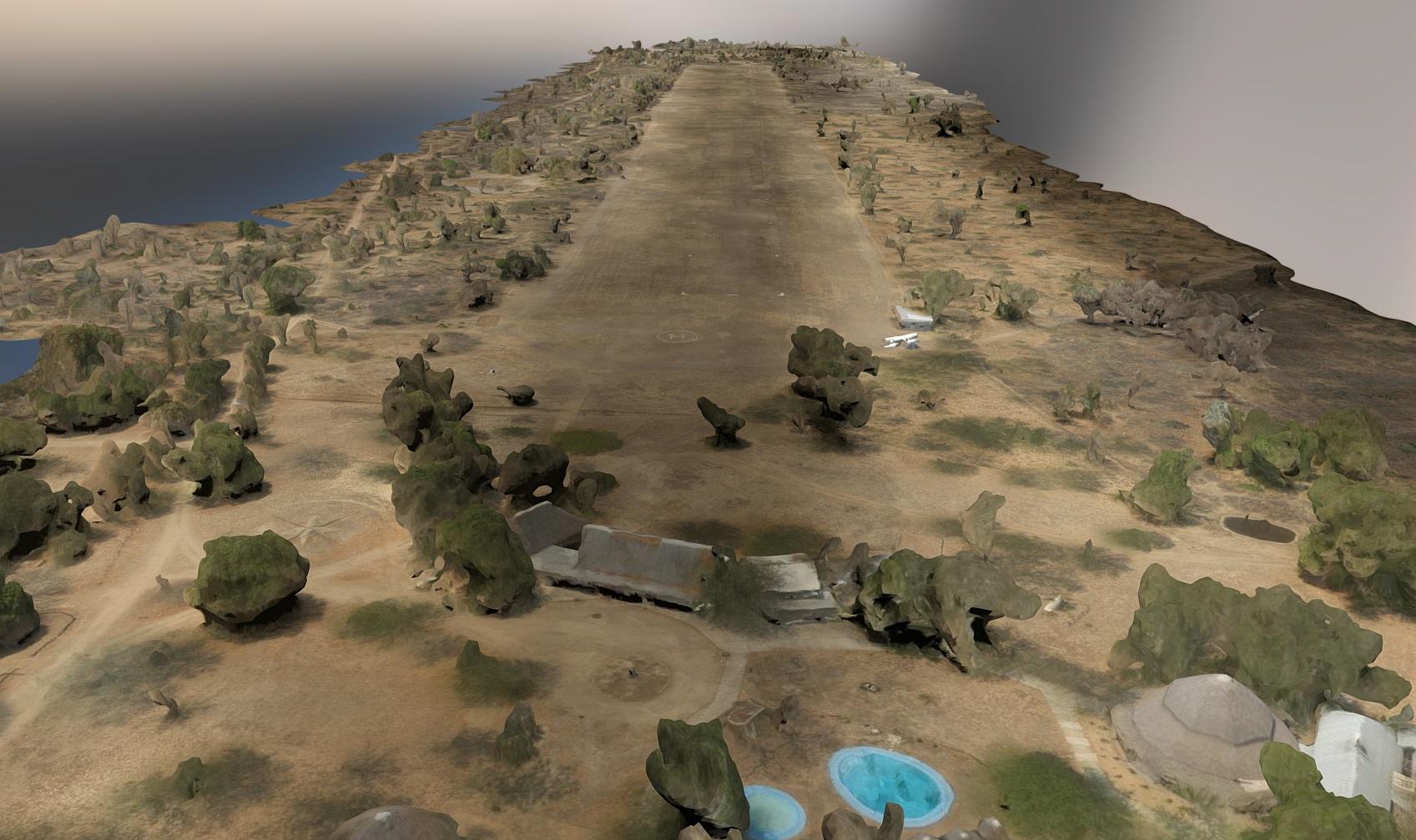 3d render of Chitengo airstrip