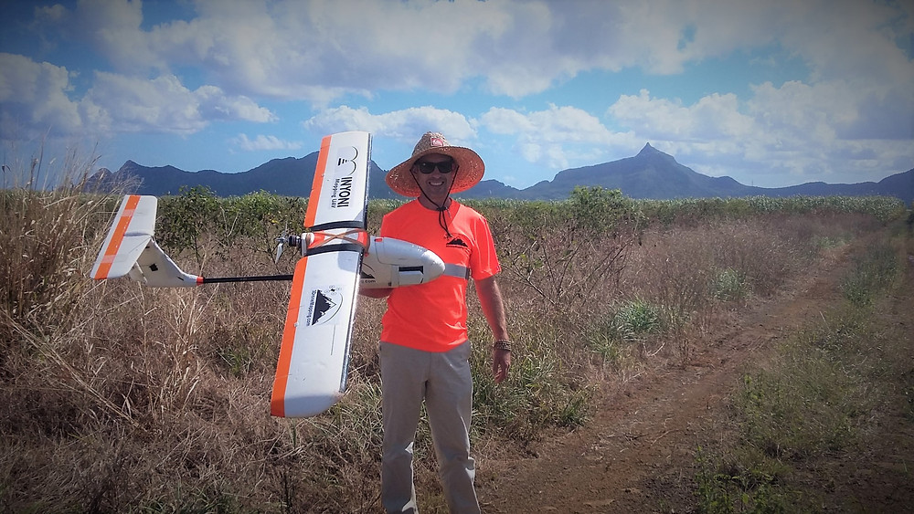 Luke Wijnberg With aerial mapping drone in Mauritius