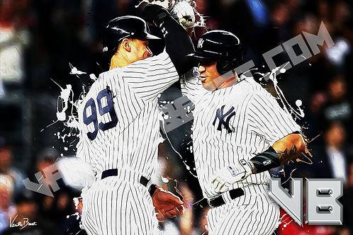 Sanchez & Judge Celebration - Yankees Splatter Series | 12x18 Large Art Print
